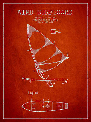 Wind Surfboard Patent Drawing From 1982 - Red Poster by Aged Pixel