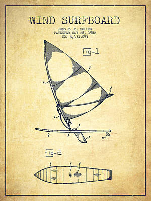 Wind Surfboard Patent Drawing From 1982 - Vintage Poster by Aged Pixel