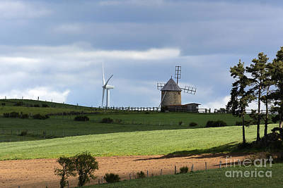 Wind Turbine And Windmill Poster by Bernard Jaubert