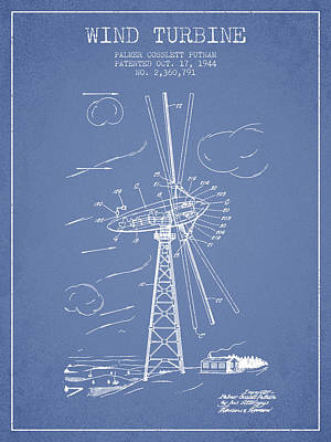 Wind Turbine Patent From 1944 - Light Blue Poster by Aged Pixel