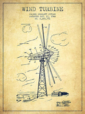 Wind Turbine Patent From 1944 - Vintage Poster by Aged Pixel