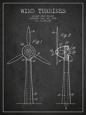 Wind Turbines Patent From 1984 - Dark Poster by Aged Pixel