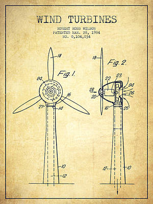 Wind Turbines Patent From 1984 - Vintage Poster by Aged Pixel