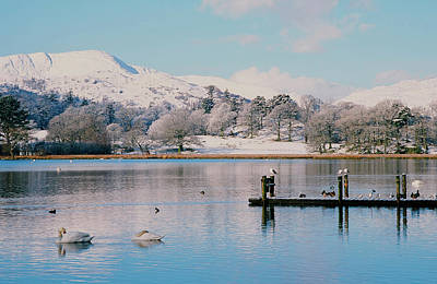 Windermere In Snow Poster by Ashley Cooper