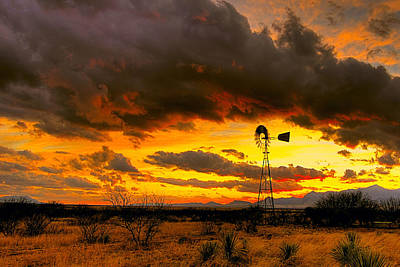 Windmill Sunset Poster by John Forrey