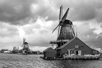 Windmills At Zaanse Schans In Black And White Poster by Jenny Hudson