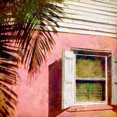 Window On Pink Island House - Square Poster by Lyn Voytershark