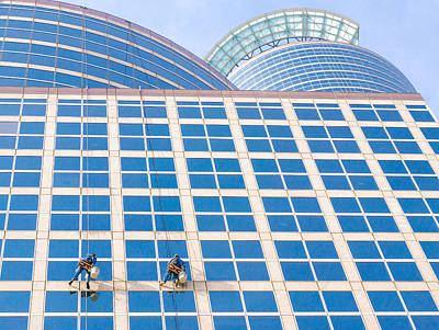 Window Washers Poster by Jim Hughes