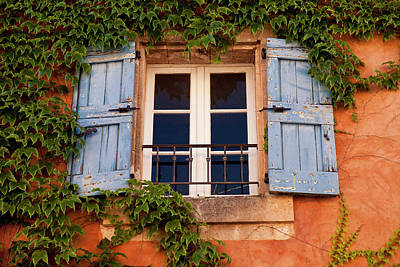 Window With Blue Shutters Poster by Brian Jannsen