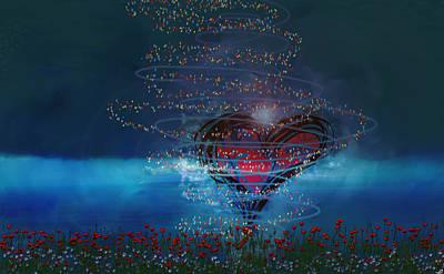 Spirtual Poster featuring the digital art Windswept Love by Linda Sannuti