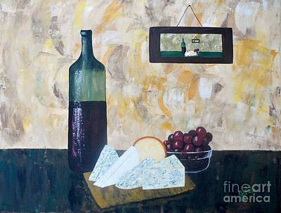 Wine And Cheese Hour Poster by JoNeL Art
