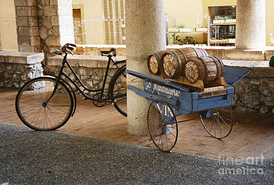 Wine Barrel And Bike Poster by Holly C. Freeman