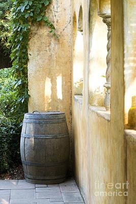 Wine Barrel At The Vineyard Poster by Jon Neidert