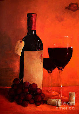 Wine Bottle - Wine Glasses - Red Grapes Vintage Style Art Poster by Patricia Awapara