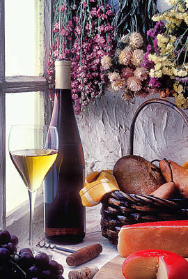 Wine Bottle With Glass In Window Poster by Garry Gay