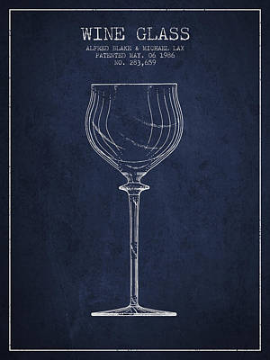 Wine Glass Patent From 1986 - Navy Blue Poster by Aged Pixel