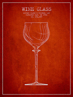 Wine Glass Patent From 1986 - Red Poster by Aged Pixel