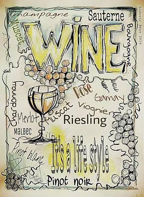 Wine Poster by Ludovic  Bezy