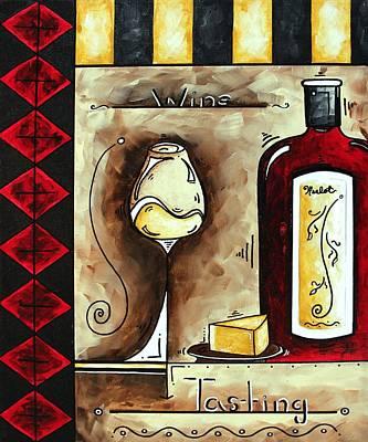 Wine Tasting Original Madart Painting Poster by Megan Duncanson