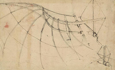 Wing Covered With Cloth And Moved By Means Of Crank Winch Below Right Detail Of Winch Poster by Leonardo Da Vinci