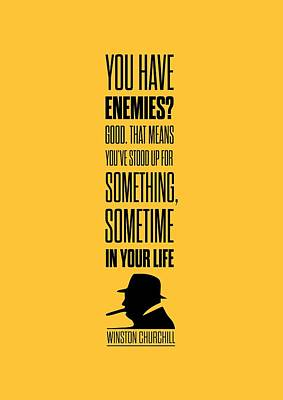 Winston Churchill Inspirational Quotes Poster Poster by Lab No 4 - The Quotography Department