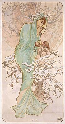 Winter Poster by Alphonse Marie Mucha