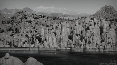 Winter At Watson Lake Black And White Poster by Aaron Burrows