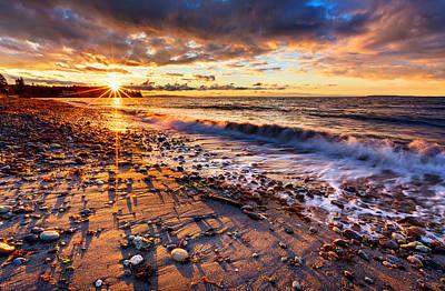 Winter Beach Sunset Poster by Alexis Birkill
