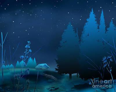 Winter Blue Night Poster by Bedros Awak