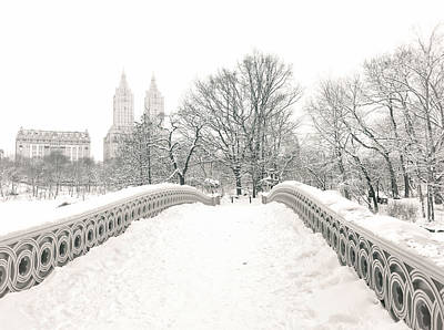Winter - Central Park - Bow Bridge - New York City Poster by Vivienne Gucwa