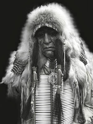 Winter Chief B W Poster by Daniel Hagerman