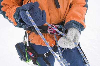 Winter Climber On Aonach Mhor Poster by Ashley Cooper