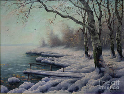 Winter Coming On The Riverside Poster by K Gabris