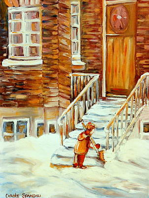 Winter In The City Snow Day Shovelling Steps After The Storm  Paintings Of Montreal Winter Scenes  Poster by Carole Spandau