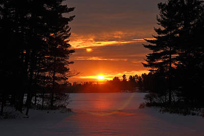 Winter Lake Sunset Poster by RJ Martens
