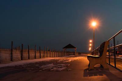 Winter Night Boardwalk Bench Seaside Nj  Poster by Terry DeLuco