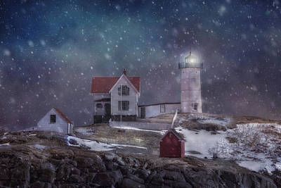 Winter Nights At Nubble Light Poster by Joann Vitali