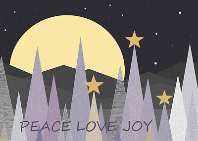 Winter Nights - Peace Love Joy Poster by Val Arie