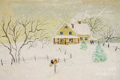 Winter Painting Of House With Mailbox/ Digitally Altered Poster by Sandra Cunningham