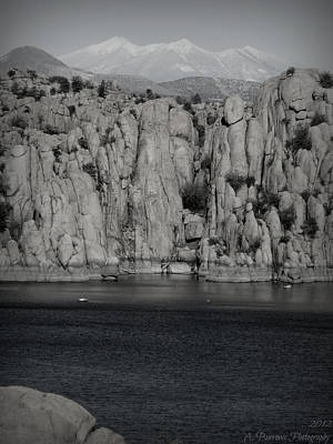 Winter Peaks Over Watson Lake Black And White Poster by Aaron Burrows