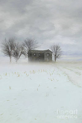 Winter Scene Of A Farmhouse/digital Painting Poster by Sandra Cunningham