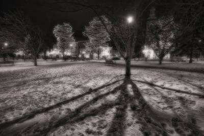 Winter Shadows And Xmas Lights Poster by Sven Brogren