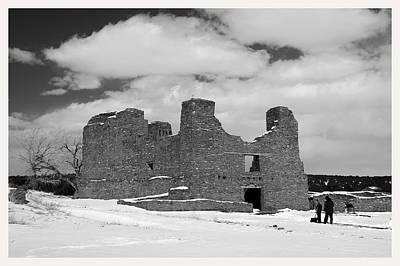 Winter Snow Quarai Ruins New Mexico Poster by Mark Goebel