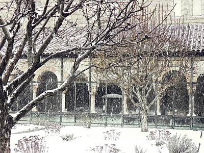 Winter Storm At The Cloisters 5 Poster by Sarah Loft