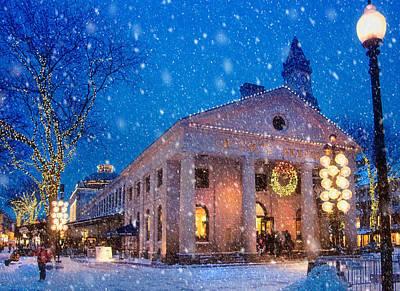 Winter Twilight In Quincy Market Poster by Joann Vitali
