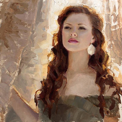 Winter Warmth - Impressionistic Portrait Poster by Karen Whitworth