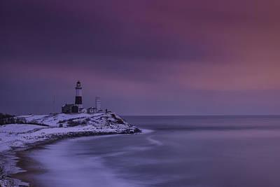 Winter's Glow At Montauk Point Poster by Rick Berk