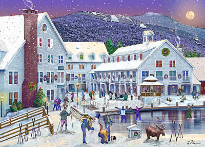 Wintertime At Waterville Valley New Hampshire Poster by Nancy Griswold