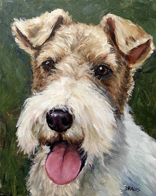 Wirehaired Fox Terrier On Green Poster by Dottie Dracos
