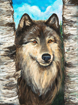 Wolf In The Aspens Originalpainting Forsale Poster by Bob and Nadine Johnston